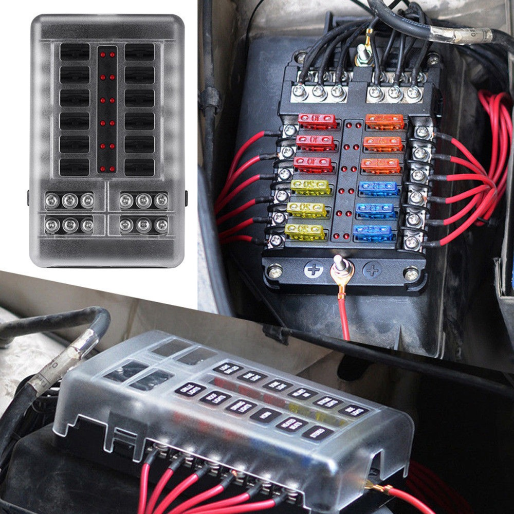 LED Indicator Light for Car//Marine Boats//Trike BlueFire 10 Way 30A 32V Blade Fuse Box Holder with 20PCS Fuse