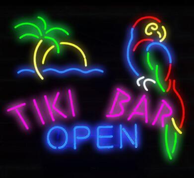 Barre de bière de signe de néon en verre ouvert de barre de Tiki faite sur commande