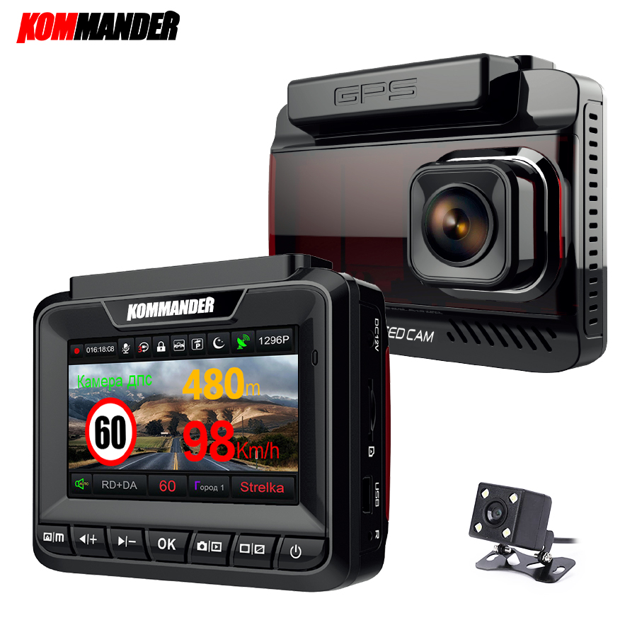 Kommander Auto Radar Detektor Eingebaute GPS Geschwindigkeit Anti radar 3 in 1 Volle HD 1080 P 1296 P 170 Grad video Recorder Dual Objektiv