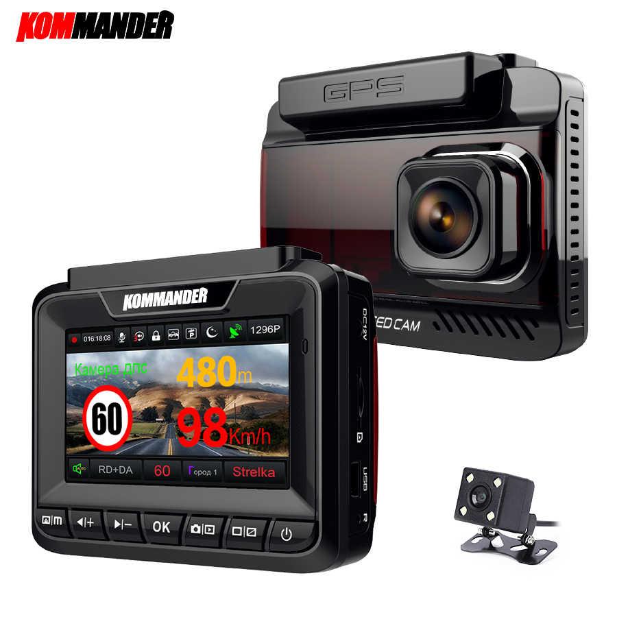 Kommander détecteur de Radar de voiture intégré GPS vitesse Anti radar 3 en 1 Full HD 1080P 1296P 170 degrés enregistreurs vidéo double lentille