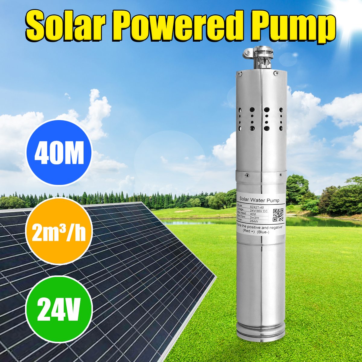 24V DC Submersibel Bore Hole Deep Well Pump Farm & Ranch Solar Powered sewage Pump
