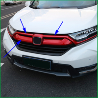 Car Styling ABS Front Grille Cover Trim For Honda CRV CR V 2017 2018 Front LOGO Frame Grill Grille Racing Covers Trim Auto Parts