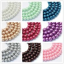 20 нитей 3 мм 4 мм 5 мм 6 мм для выпечки Окрашенные перламутровые стеклянные жемчужные круглые нити для изготовления ювелирных изделий браслет ожерелье F60