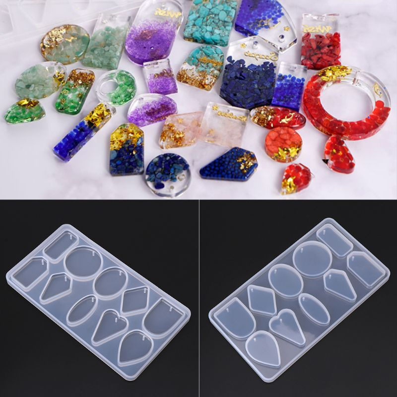 1 Set UV Crystal Epoxy Pendant Mould Bear Fishtail Silicone Mold DIY Handmade Jewelry Making Tools Jewelry Accessories