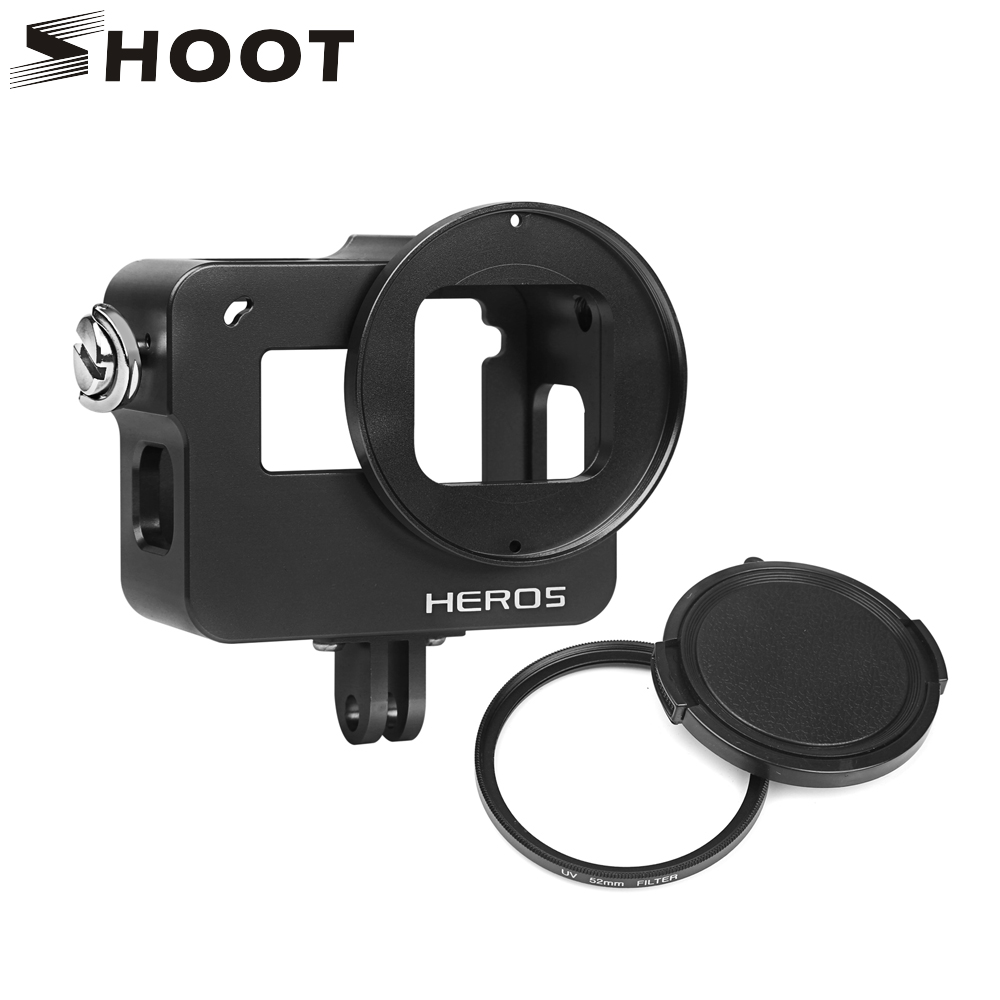 SHOOT Aluminum Alloy Cage Protective Case for GoPro Hero 5 Black Camera with UV Filter and