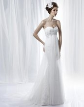 A-239 Beautiful Sweetheart Tulle High Waist Appliques Wedding Dress Designer