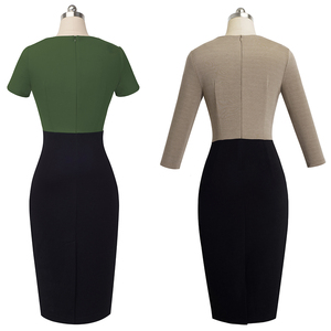 Image 4 - Nice forever Vintage Elegant Contrast Color Patchwork Wear to Work vestidos Business Party Office Women Bodycon Dress B463