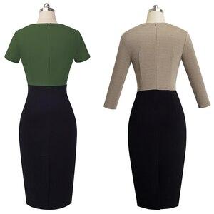 Image 4 - Nizza für immer Vintage Elegante Kontrast Farbe Patchwork Tragen zu Arbeiten vestidos Business Party Büro Frauen Bodycon Kleid B463