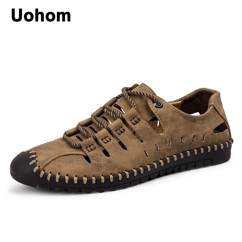 Uohom Comfortable Men Sandals Summer Casual Shoes New Mens Beach Shoes Breathable Waterproof Footwear Men Lazy Shoes Size 38~46