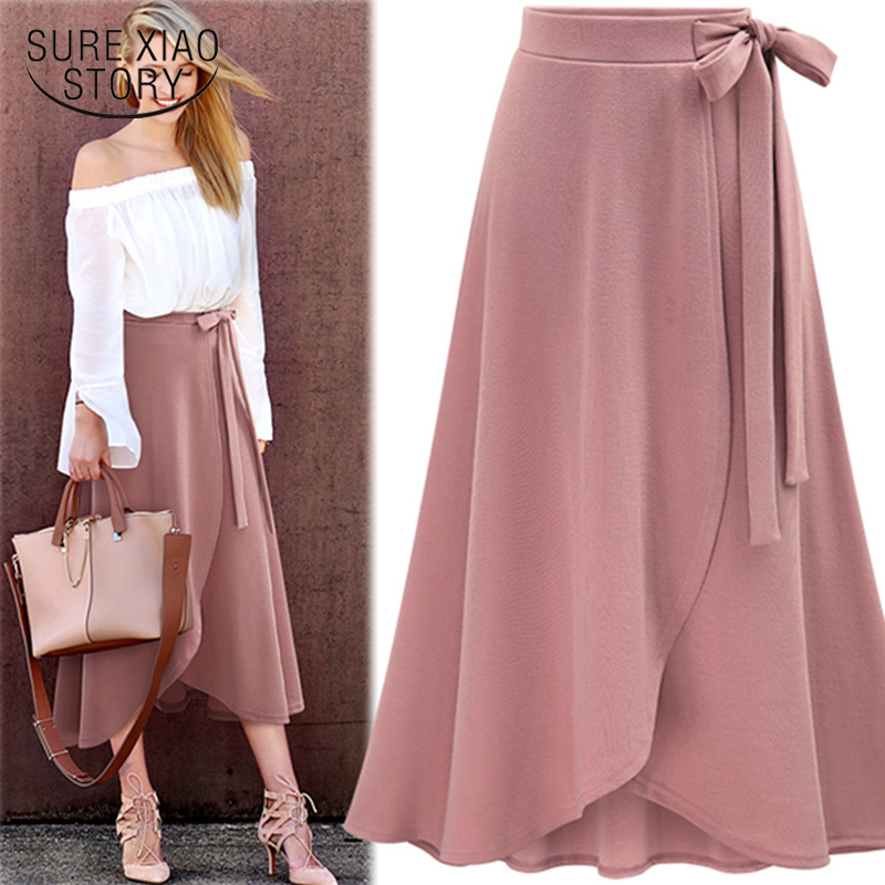 2018 New Arrival Autumn  High Waist Irregular Open Fork Skirt Solid Fashion Mermaid Skirt Causal  Wear Soft Fabric 1191 40