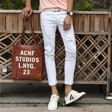 2016 Spring and Summer New Men's Jeans Pants Korean Style White/Black Skinny Hole Jeans Men Casual Ripped Jeans For Men Hot Sale