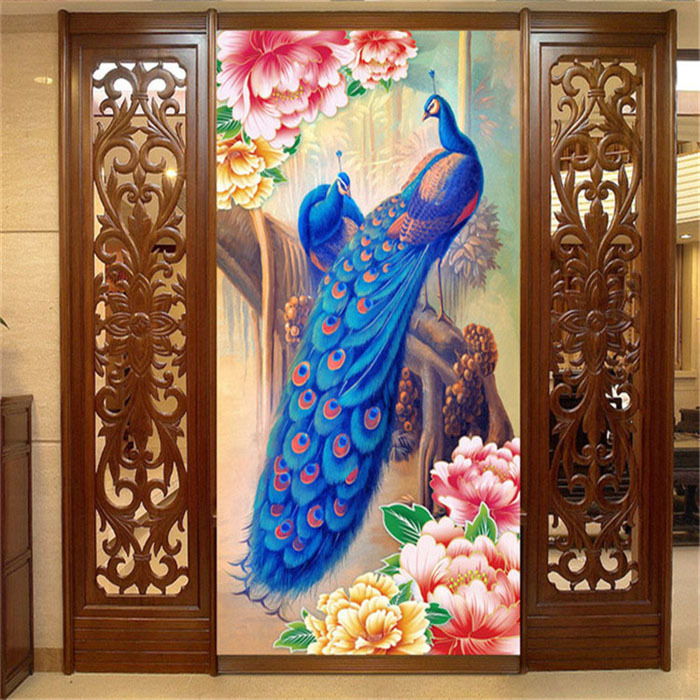 Peacock and Peony flower Photo Wallpaper oil painting <font><b>effect</b></font> <font><b>Wall</b></font> <font><b>Mural</b></font> Wallpaper Silk Room decor Door Art Corridor Hallway