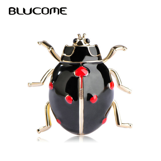 Blucome Fashion Ladybug Brooches Black Enamel Gold Color Insect Brooch Kids  Lady Girls Men Jewelry
