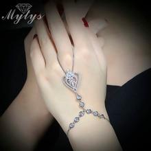 Pulsera de Dedo Conectado Pulsera Esclava Del Corazón Diseño de Moda para Las Mujeres 2016 Nueva Moda de Mano de Palm Pulsera Mujeres Regalo R1075