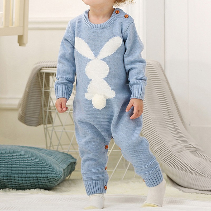 New Cute Knitted Rabbit tail Patchwork Romper Newborn Infant Baby Boy Girl Weave Long Sleeve Rompers Jumpsuit Outfits Clothes