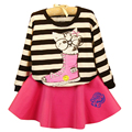 Fashion children's clothing sets hot sale girls suits striped kitten T-shirt+skirt fitted long sleeves girls clothing sets