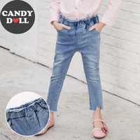CANDYDOLL Autumn New Girl Childrens Jeans Cotton Slim Elastic Waist Long Pants Teenager Girls Trousers for 3 4 5 6 7 8 9 10 Kids