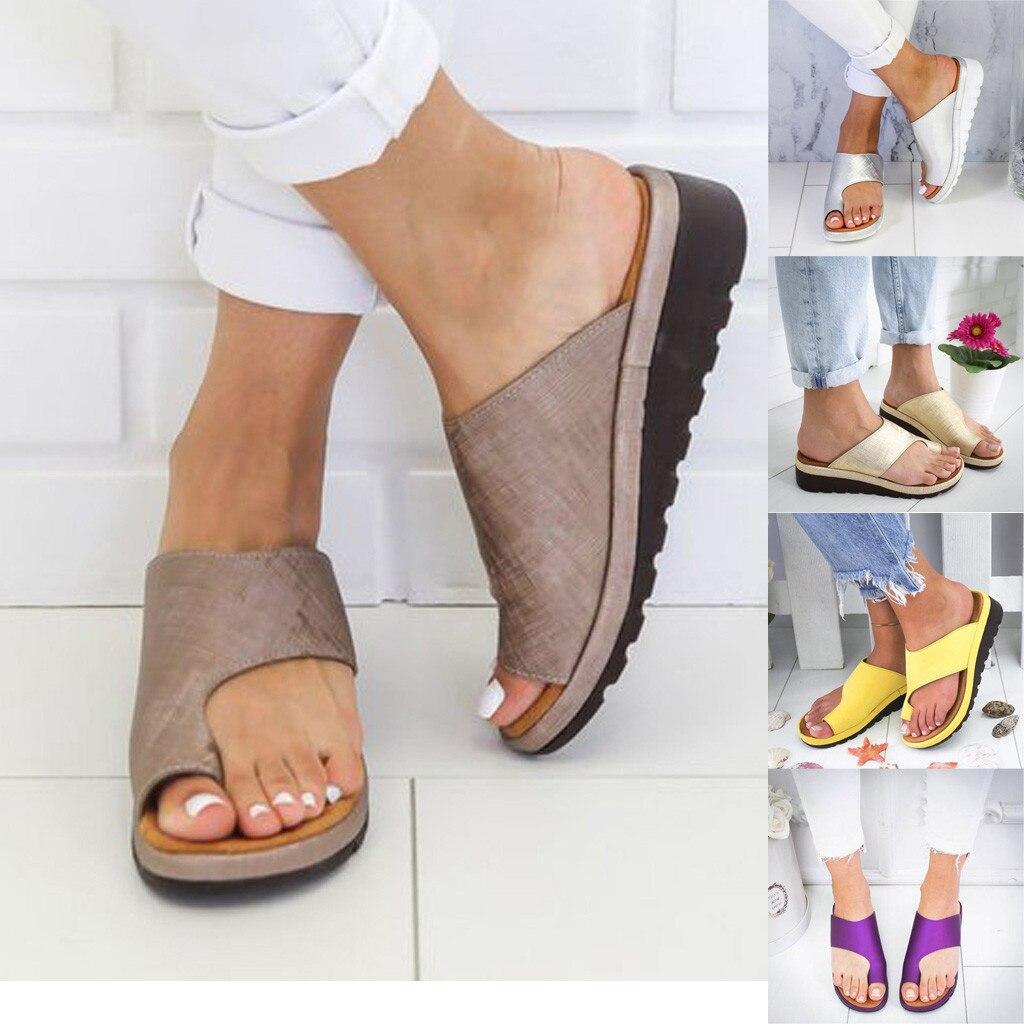 Sandal Shoes Platform Orthopedic Comfy Casual Women Ladies Flat-Sole PU Corrector Bunion