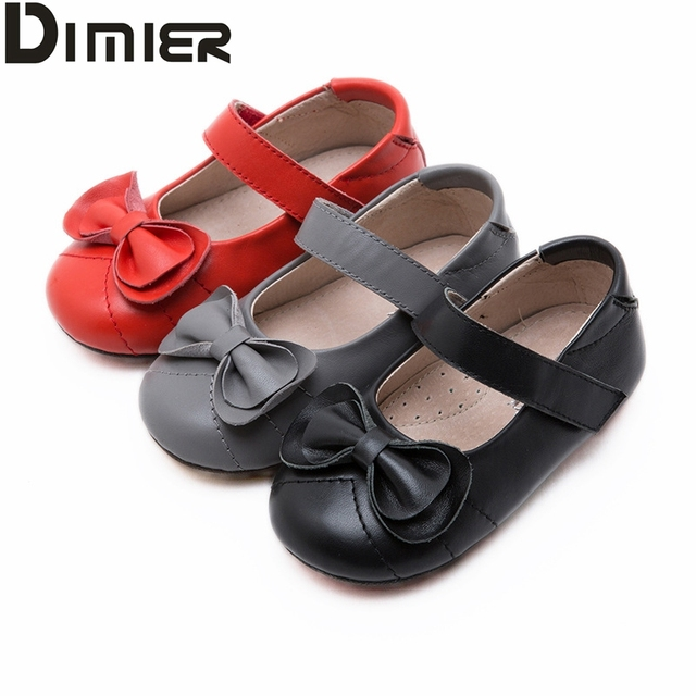 Toddler Baby Girl Leather Shoes Red Black Gray Oxford Chaussure enfant Shoes Girl Simple Pure Princess Wedding Dress Walker