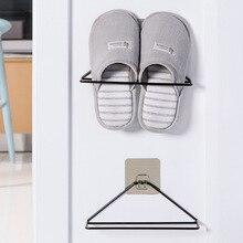 Home Wall-Mounted Sticky Door Storage Hanging Shoe Rack Iron Shelf Slipper Organiser Stand Closet Cabinet Holder Hook Space Save
