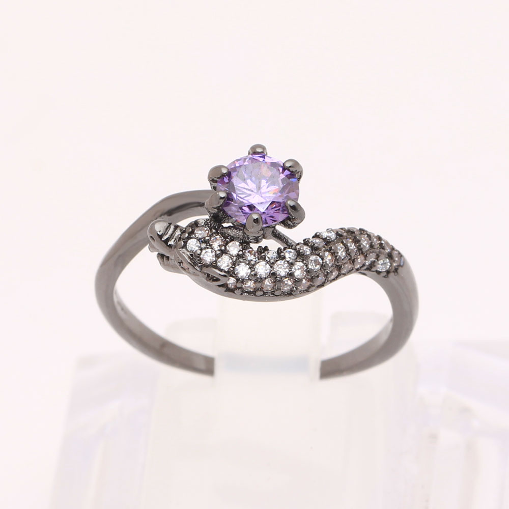 dragon head black promise Rings fashion jewelry lady Mystic chinese party gift pink eye purple czech finger Ring for women