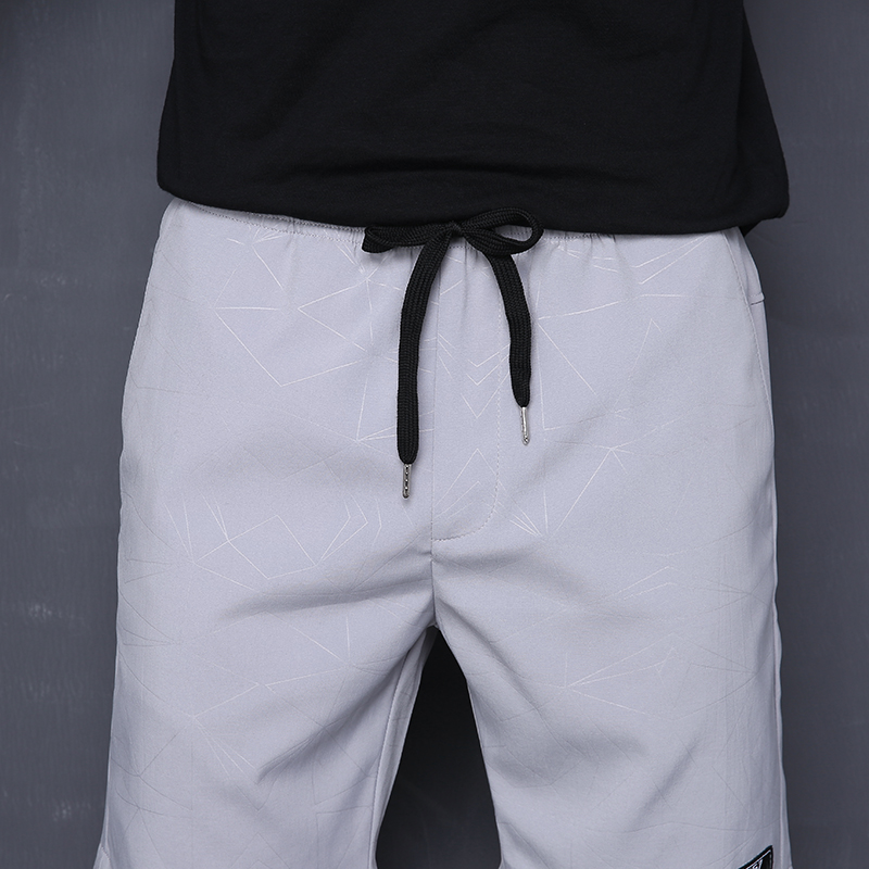 Large Size Mens Shorts Breathable Fashion Printing Mens Shorts Elastic Waist Summer Style White Gray Quick Drying Short