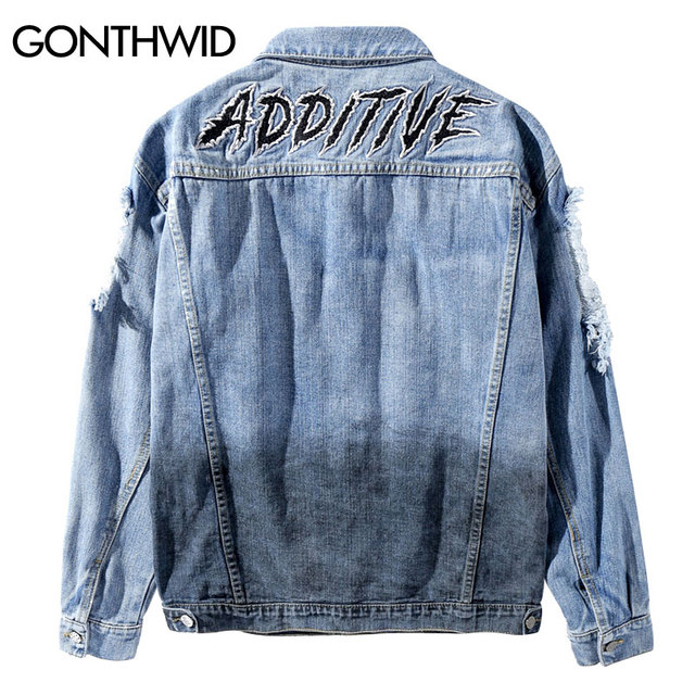 741504f47668 GONTHWID Men Patchwork Ripped Hole Destroyed Tie Dye Denim Jackets 2018  MaleHip Hop Casual Jean Jacket Coats Streetwear Fashion