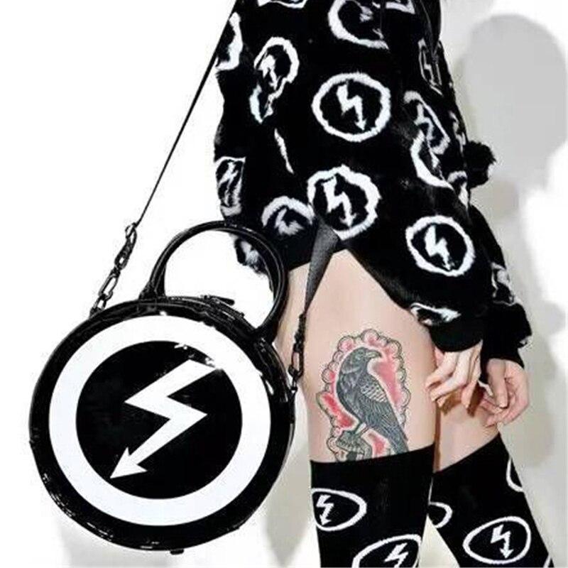 Women Punk Skull Flash Bags Gothic Dark Crossbody Bag Ladies Girls Harajuku Moon Messenger Bag Round Handbag Halloween Gift 2017 halloween skull printing women crossbody shoulder bag pu leather skull design women messenger bags handbag and purses