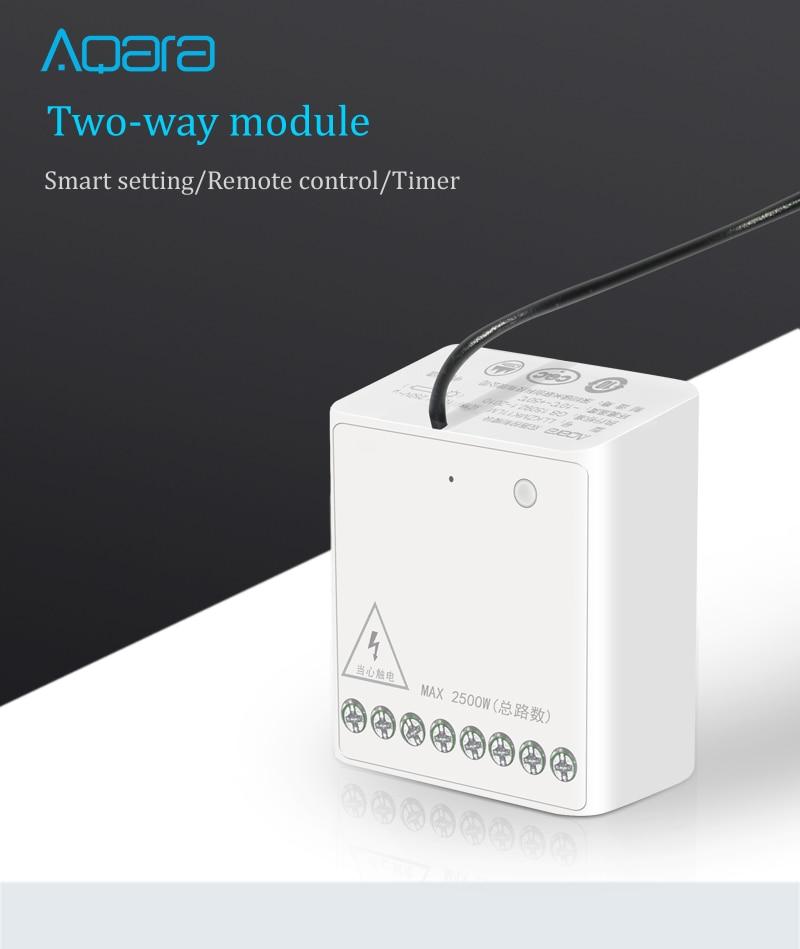 Xiaomi aqara llkzmk11lm two-way control module wireless relay controller 2 channels work for mijia app & home kit control module (white)