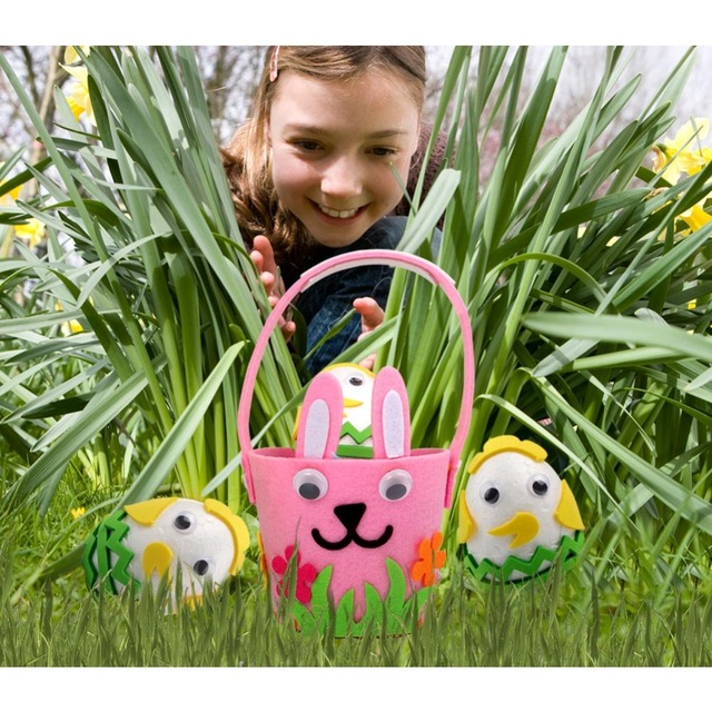 Easter eggs basket with rabbit ornaments-Easter decor items