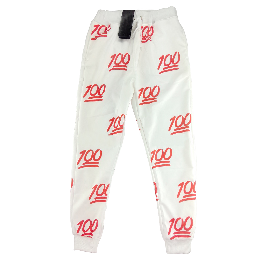Unisex Emoji Printing Pretty 3D Sweatpants Joggers Sweatshirt Pants S/XL(White and red)