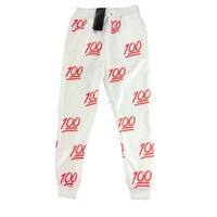 Unisexe Emoji Impression Jolie 3D pantalon Joggers Sweat Pantalon S/XL (Blanc et rouge)