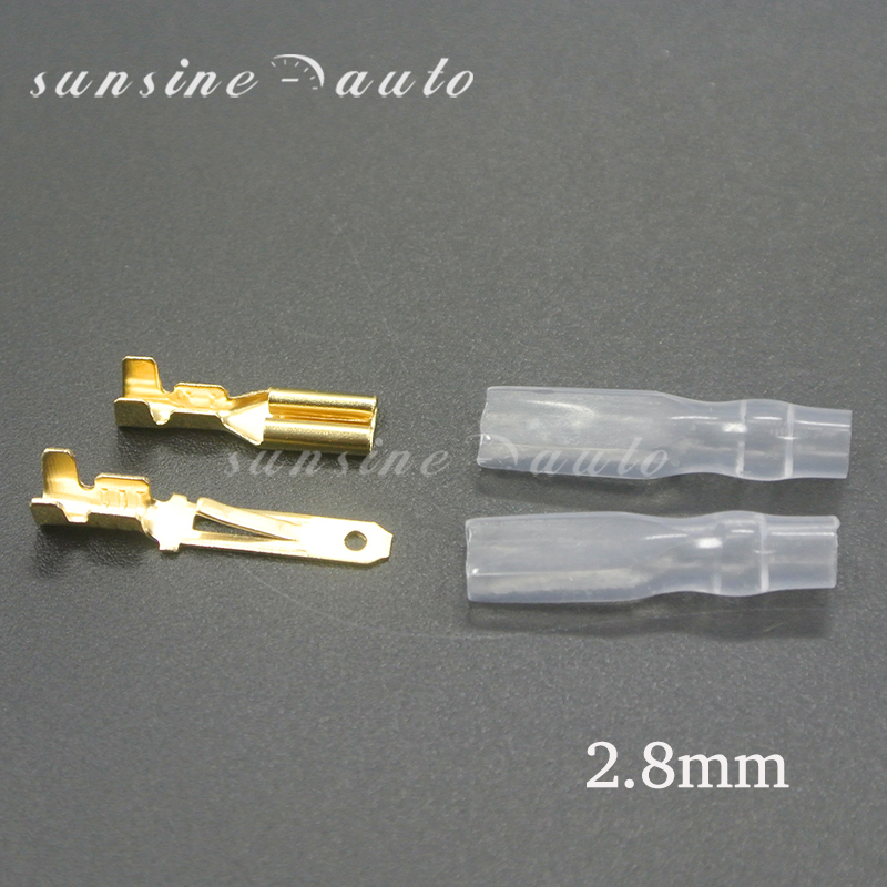 200/50Pc 2.2/2.8/4.8/6.3mm Wire Connectors Crimp Terminals Crimp Female/Male Spade Terminals With Transparent Insulating Sleeves
