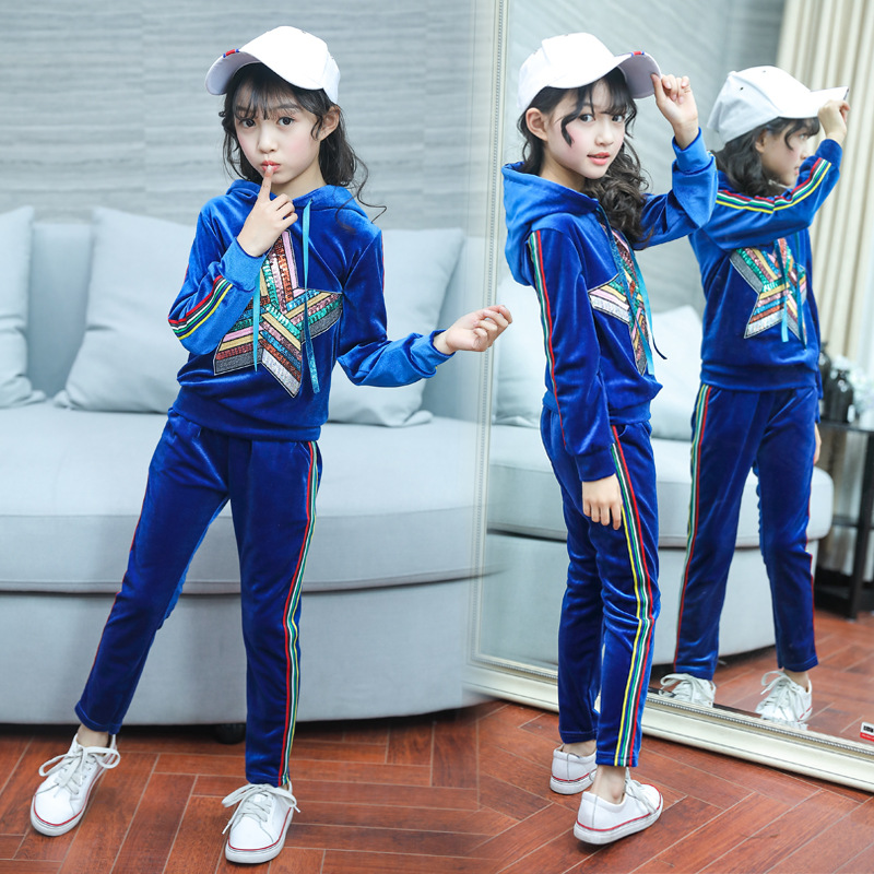 Girls Sport Suits Kids Velvet Shinning Colorful Star Coat + Striped Pants 2pc Blue Clothes Set for Girls 6 7 8 Years 2018 Autumn striped tape applique velvet pants