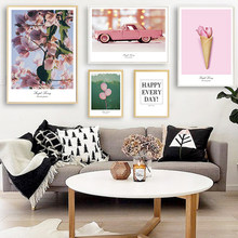 Pink Car & Ice Cream Canvas Prints Flower Tree Leaves Posters Balloon Quote Pictures Home Decor Wall Art for Living Room Bedroom(China)