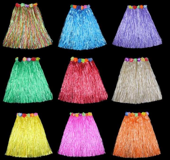 40 60 CM Fun Hawaiian Party Decorations Tillbehör Barn Vuxna Hula Show Grass Beach Dance Aktivitet Kjol Wreath Bra Garland
