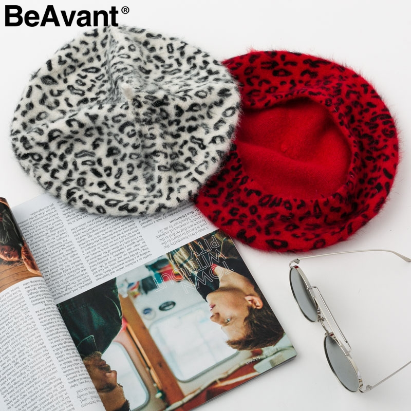 BeAvant Elegant wool leopard beret hat women Streetwear warm winter hat female Casual party club print   skullies     beanies   2018