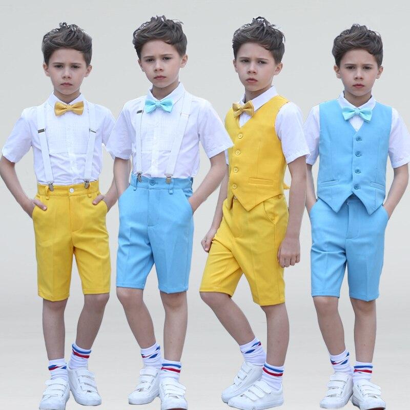 все цены на Children's Day Boys 4Pcs/Set(Pants+Shirts+Belt+Bow) Summer Yellow/Blue Chorus Wedding Flower Boys Short Sleeve Blazer Suit Sets