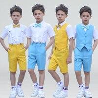 Children's Day Boys 4Pcs/Set(Pants+Shirts+Belt+Bow) Summer Yellow/Blue Chorus Wedding Flower Boys Short Sleeve Blazer Suit Sets