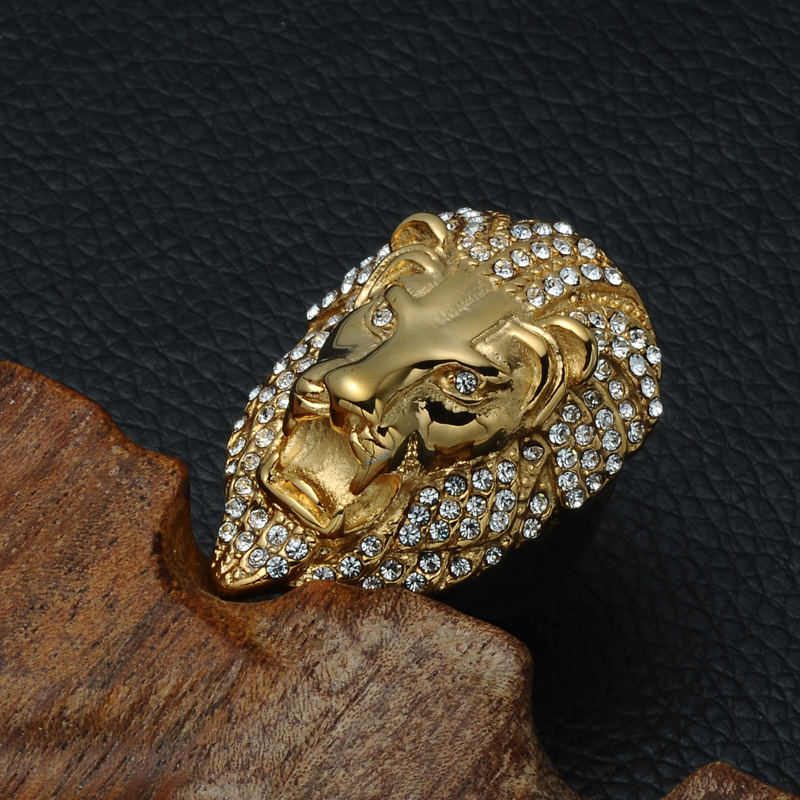 HIP Hop Micro Pave Rhinestone Iced Out Bling Lion Head Anillo para - Bisutería - foto 3