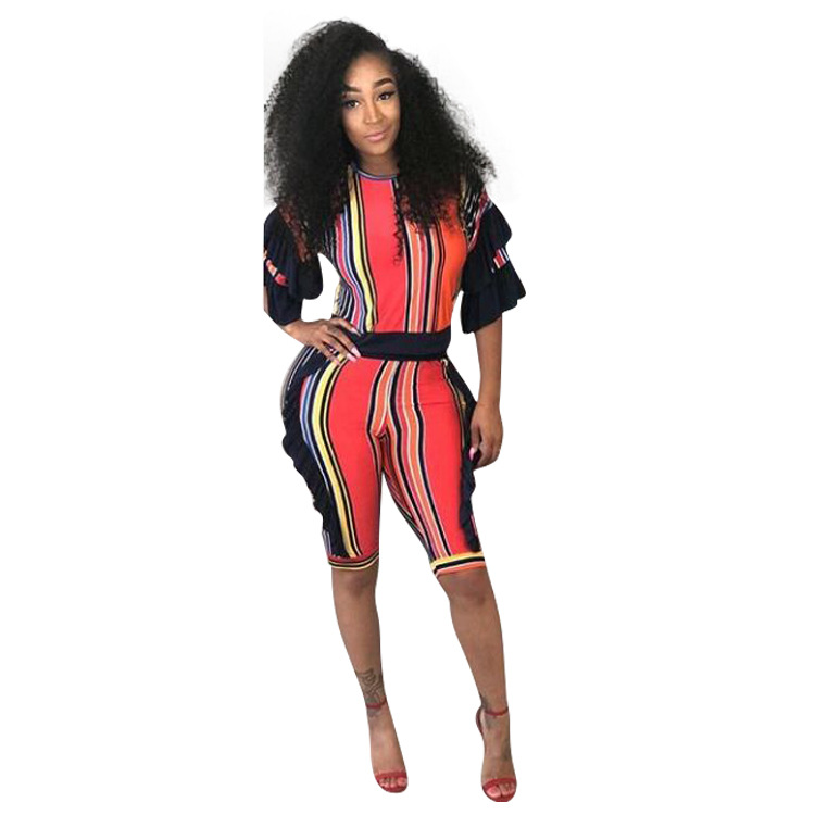 S-3XL womens short jumpsuit overalls bodysuit 2018 new arrival Casual Striped Ruffles jumpsuit ...