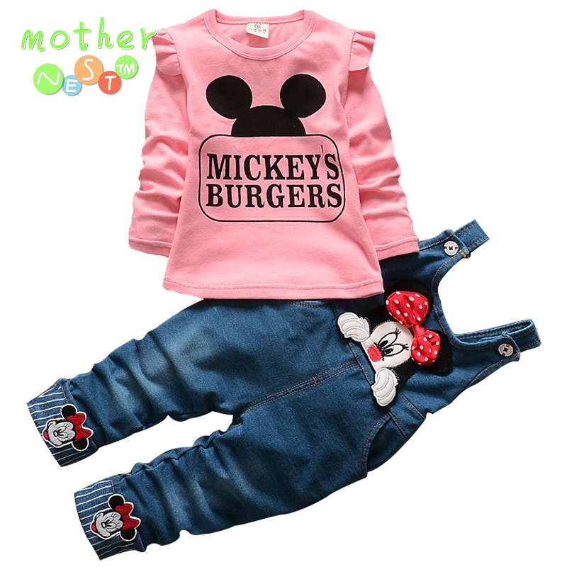 2017 New Minnie Girls Clothing Sets Spring Casual cotton baby Suspenders Set Full sleeve shirts Jeans