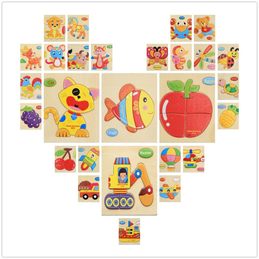 3D Puzzle Wooden Toy Jigsaw For Children Cartoon Animal Cars Fruit Fish Puzzle Intelligence Kids Educational Toys wooden 3d puzzle jigsaw wooden toys for children cartoon animal puzzles intelligence kids children educational toy toys