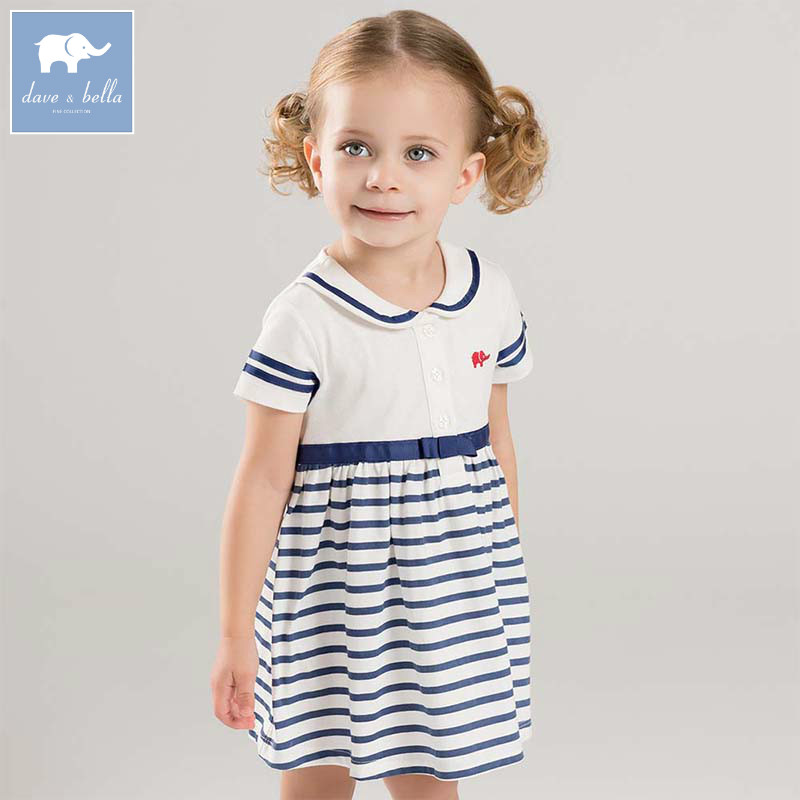 f1d493f9049 Dave bella lovely little baby girls dresses infant toddler striped clothes  children birthday party high quality costumes DBM7346