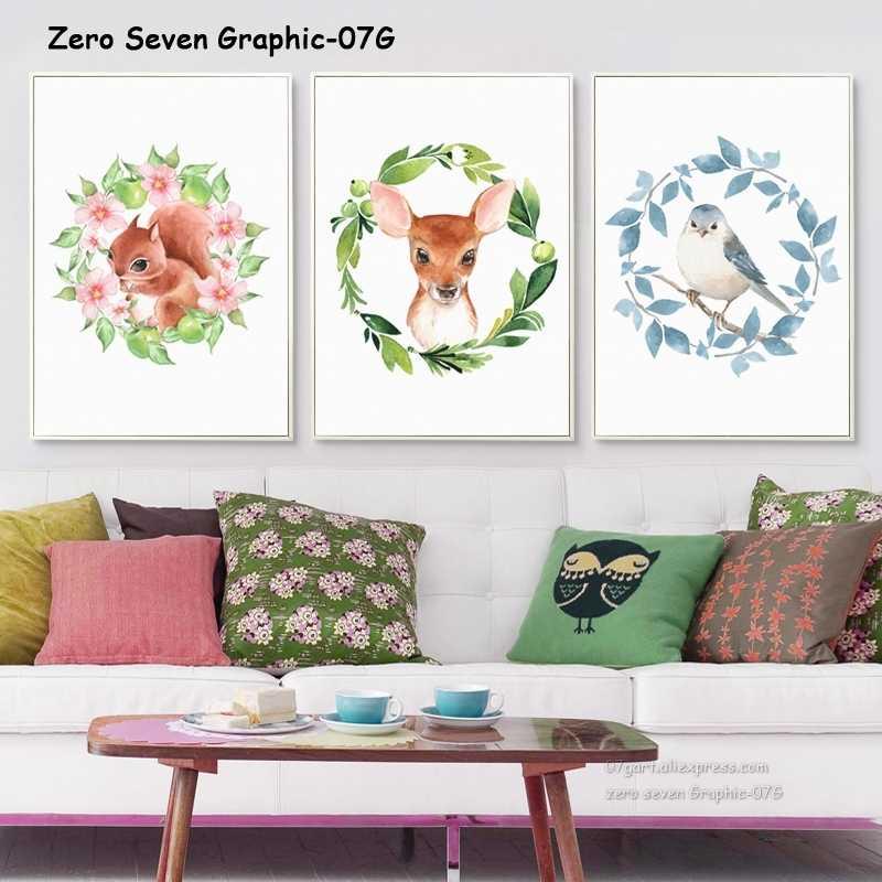 Màu nước Vòng Hoa Với Động Vật Squirrel Deer Chim Canvas Vẽ Tranh Áp Phích Và Bản In Phòng Khách Tường Nghệ Thuật Hình Ảnh Trang Trí Nội Thất