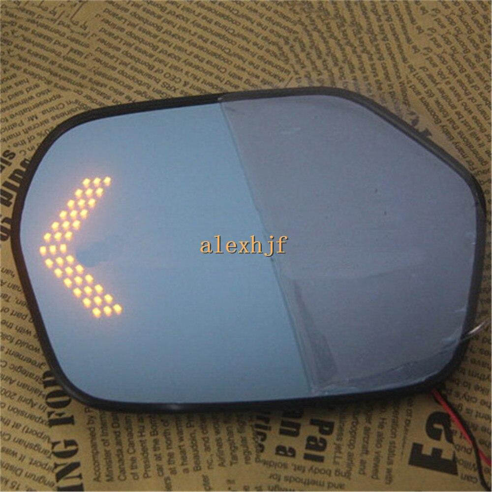 Varthion Rearview Mirror Lens Case for HONDA CRV 2012~15, Large Field Of Vision, Blue Mirror, LED Turning Lights, Heat Demisting