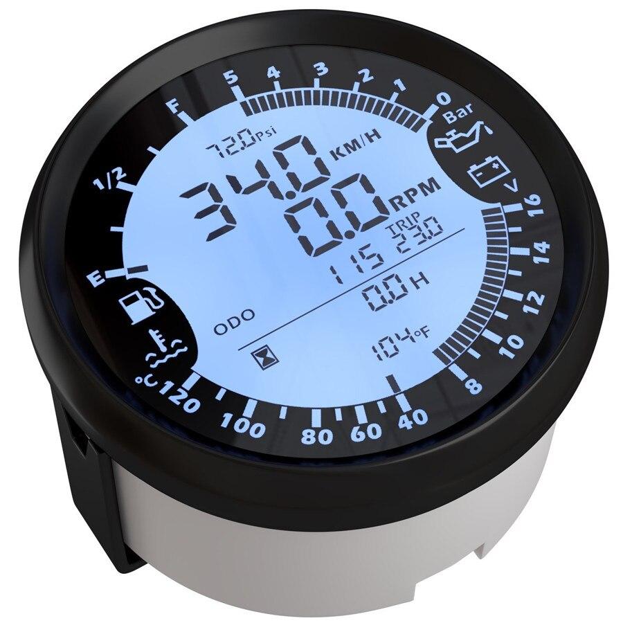 6 in 1 Multi-funzionale Tester del Calibro di 85mm Auto GPS Tachimetro Calibro di Velocità del Camion Barca Digitale A CRISTALLI LIQUIDI Nodi bussola con Antenna GPS