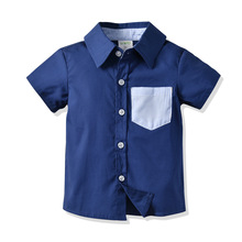 2019 Summer Boy Shirts Cotton Baby Clothes Toddler Kids Short Sleeve Plaid Shirt Top Children Outfits
