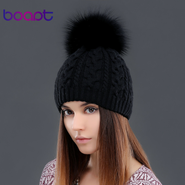 BOAPT cashmere soft thick warm double-deck twist knited caps hats  for women's winter genuine raccoon fur pompons ladies beanie