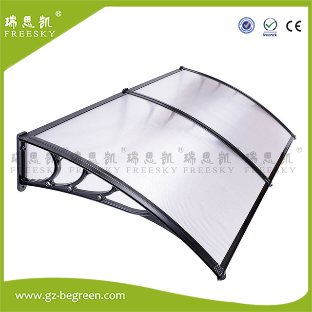 Yp150240 150x240cm Freesky Diy Door Canopy Window Awning Polycarbonate Awning Black Bracket Clear Roof Cover Sheet